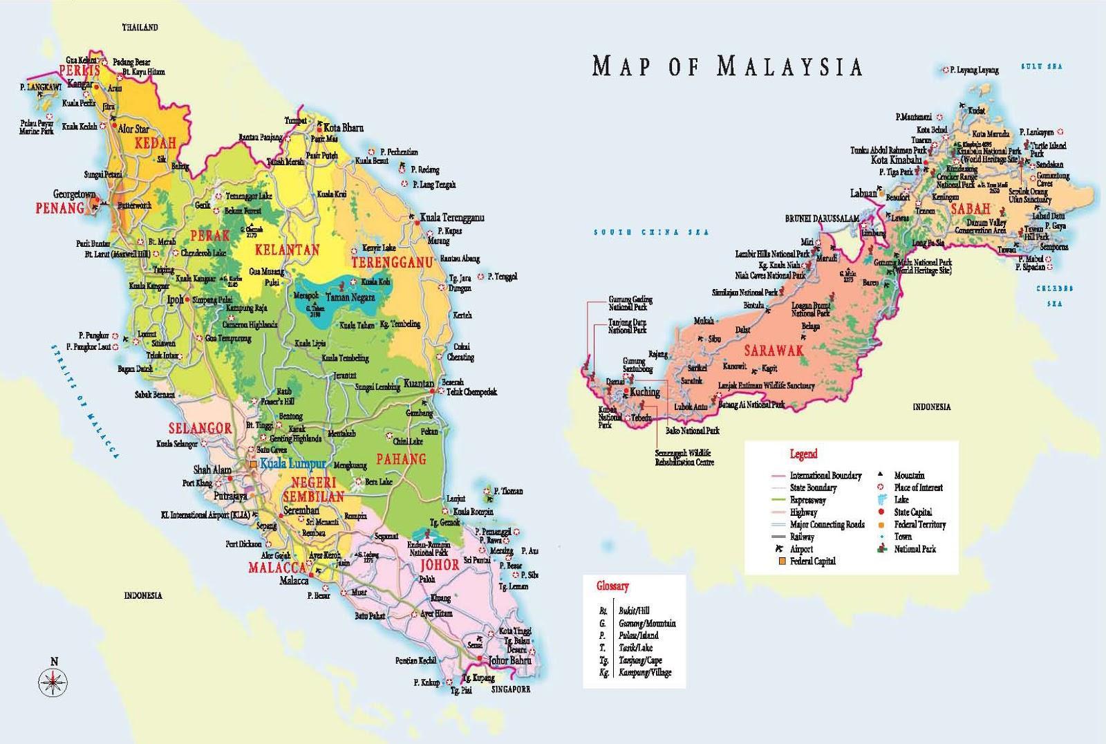 Carte Touristique Asie.La Malaisie Carte Touristique Carte Touristique De La