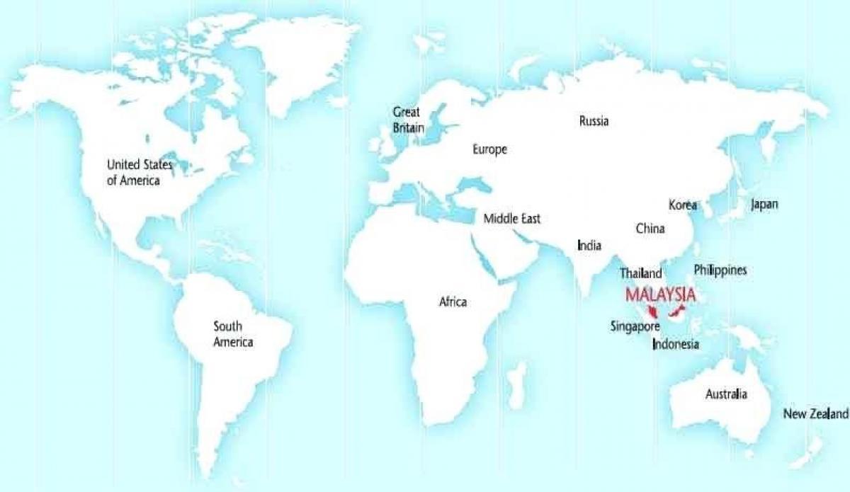 Carte Malaisie Monde.La Malaisie Sur La Carte Du Monde La Carte Du Monde Montrant