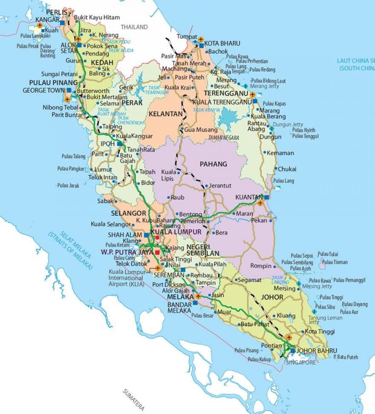 Carte Asie Malaisie.Semenanjung Malaisie Carte Penisular Malaisie Carte Asie